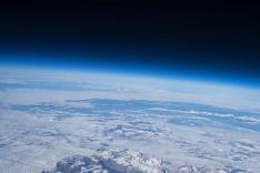 Aerial shot from balloon in orbit